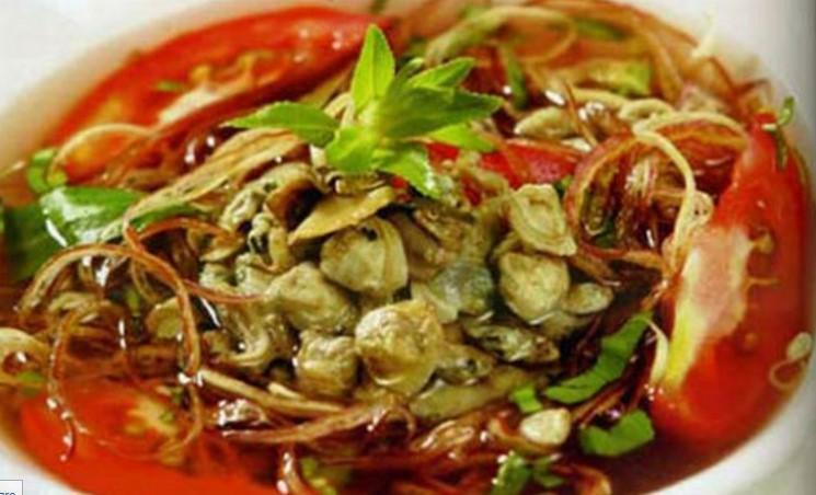 Canh hến nấu cà chua giảm cân